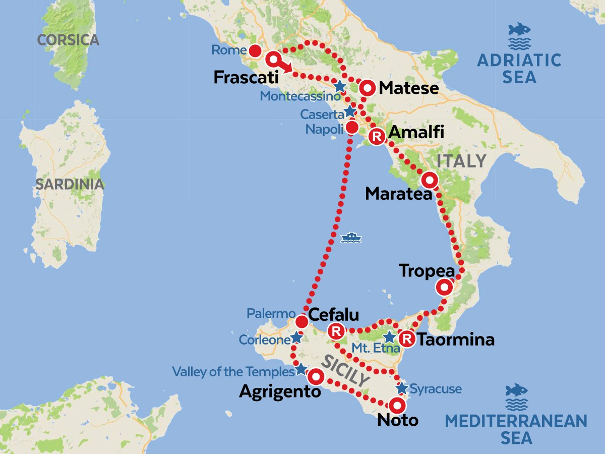 Map Of South Of Italy.South Italy Motorcycle Tour South Of Rome Sicily Amt