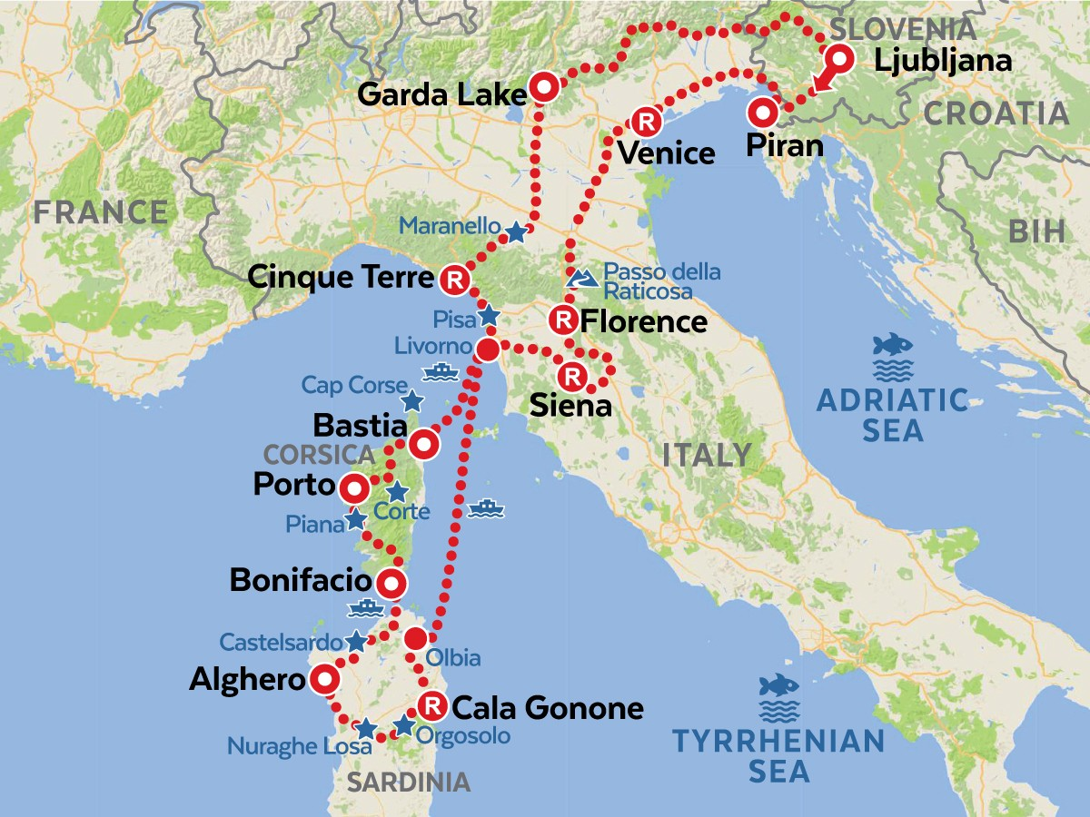 TUSCANY SARDINIA CORSICA longer version self-guided tour